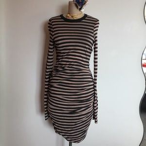 ALC Striped Wool Blend Ruched Midi Dress SZ M